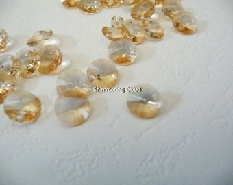 Crystal Glass, swarovski, 6200, elements, drop, pendants, 8 mm, champagne beads, clear, bicolor, royal gold, yellow, metalized, crystal,