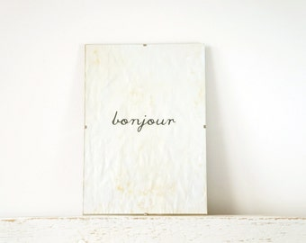 Wall Decor, Poster, Sign - Bonjour