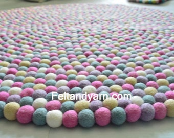 Pink Five color felt ball rug in various size, felt ball rug for girl nursery, handmade felt ball rugs