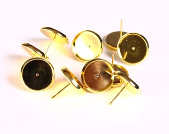 10 pieces (5 pairs) 12mm earstud gold tone findings -  nickel free - lead free - cadmium free (1419)