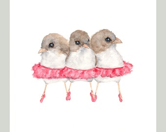 Bird art, watercolor bird painting, baby girl nursery, ballerina art, nursery watercolor, ballerina painting - 8X10