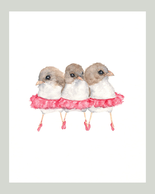 bird art watercolor bird painting baby girl nursery. Black Bedroom Furniture Sets. Home Design Ideas