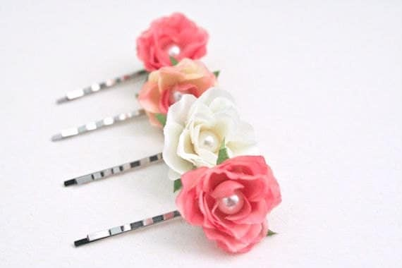Small Pink Rose Hair Pins (set of 4), Cream, Pink, Peach, Flower Bobby Pins with Pearls, Bridal Hair Accessories, Rose Hair Clips, Woodland