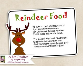 Reindeer Food for Rudolph & Friends Santa Christmas Design - DIY Printable