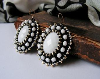 Black White Earrings Bead embroidery Earrings White Dangle Earrings Beadwork earrings White Jade Earrings Black White Gold MADE TO ORDER
