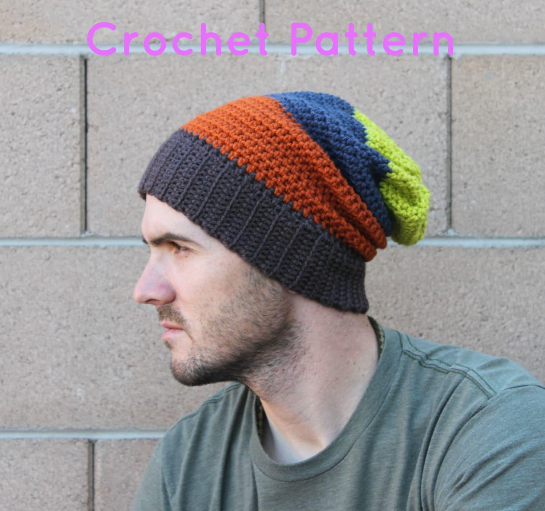 Crochet Mens Slouchy Beanie Hat Pattern