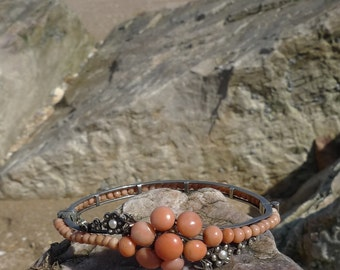 SILVER Antique Victorian Coral Bangle Hinged Vintage Bracelet with beads and buttons