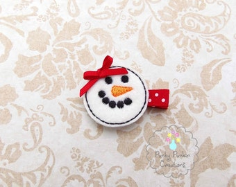 Snowman Hair Clip, Snowgirl Hair Clip, Christmas Hair Clip, Holiday Clippie Embroidered Felt Hair Clip for Baby, Toddler or Girl