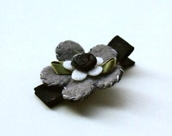 Grey Felt Flower Hair Clip Barrette