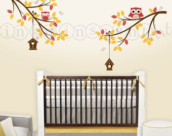 Owls on Branches with Birds and Birdhouses, Owl Wall Decal for Baby Nursery for Kids or Childrens Room 040