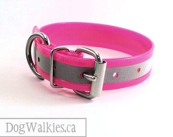 "Hot Neon Pink Reflective 1"" Biothane Dog Collar - Adjustable Buckle Custom Size - 25mm Wide"