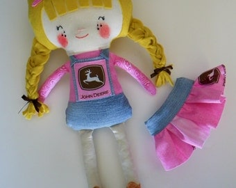 "Harriet 18"" Plush John Deere Cowgirl Doll (Blonde with Braided Pigtails & Freckles) READY TO SHIP Handmade. Customizable Birth Certificate"