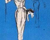 Vintage 1950s Dress Pattern M172 Prominent Designer Lucille Rivers Slim Evening Cocktail Figure Flattering High Neck Low Surplice Front  B32