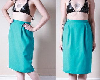 SALE 80's Turquoise Pleated Pencil SKIRT // Bright / Pin Up //  Size Small Medium