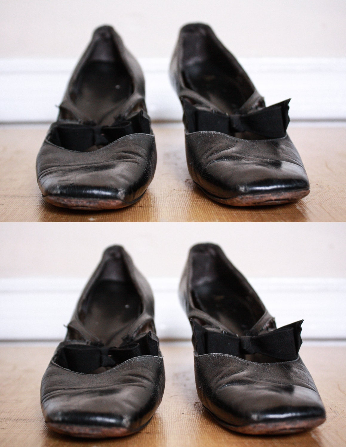 vtg 40 s black high heel tap shoes with bow by sideshowsam