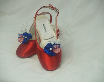Wedding Patriotic Shoes for flower girls, USA Flag Girls Shoes, 4th of July Flower girls shoes red blue white, American Flag, Pageant