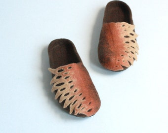 Women  felted wool slippers - brown and beige slippers - women house shoes - Wedding gift