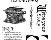 TYPOGRAPHY Graphic 45 Hampton Art  Cling Mount Rubber Stamp Set