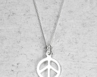 Peace Symbol Sterling Silver Talisman Charm Necklace