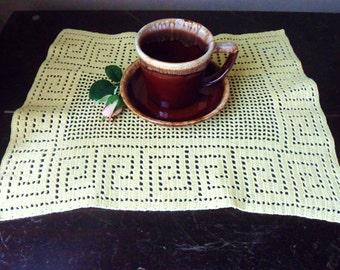 Four Yellow Placemats, Set of Hand Crocheted Placemats in a Geometric Design