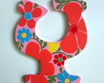 Floral Hand Painted Letter to Match Room Décor