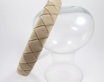 Tan Headband - Light Brown Headband - Hard Headband - Plastic Headband - Ribbon Woven Headband - Child Toddler Teenager Adult Headband