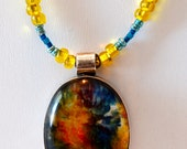 Multi-Color Dichroic Glass Pendent on Beaded Handmade Necklace