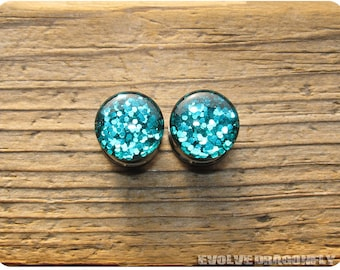 Disco Teal Glitter Plugs - 0g, 00g, 7/16, 1/2, 9/16, 5/8, 3/4, 7/8, 1 Inch