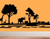 Africa safari scene wall decal africa safari living room decal home decor nature outdoors animal decor bedroom decal vinyl decal decor