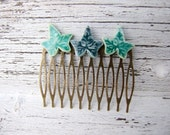 Ivy leaf hair comb, green glazed ceramic, bronze tone, Winter collection