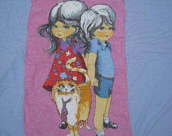 Tea Towel Vintage of Girl, Boy and Cat