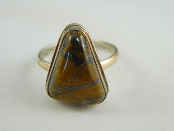 tigers eye silver ring sterling silver by