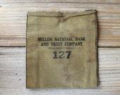 Vintage Mellon National Bank canvas bag / rustic retro home decor / olive green / man cave decor / den decor / canvas pouch / green coin bag
