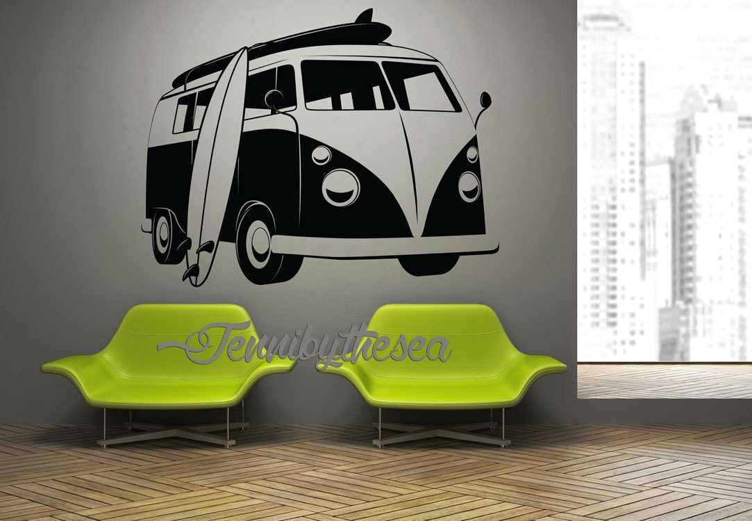 Vintage Vw Surf Bus Wall Art Decal Surfing Home Decor
