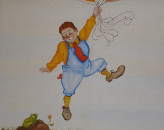 """Vintage Canvas Clown ~ Boy in Face Paint holding on to Balloons """"Leaving the World Behind"""" Original1985 by Burge  ~ Clown like"""