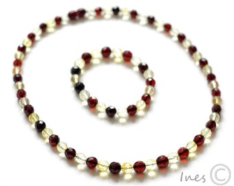 Set of Baltic Amber Cherry and Lemon Necklace and Bracelet. Faceted round amber beads