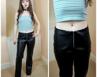 SALE 90s Black PVC Faux Leather Mid Rise Zipper Front Bootcut Jeans Pants S / M