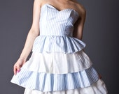 SALE 50% OFF 80s Vintage Sweetheart Party Dress in Baby Blue & White