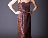 SALE 50% OFF 70s Vintage Sequin Maxi Dress in Rust