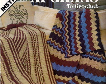 Reversible  Afghans to Crochet Pattern Book Leisure Arts Leaflet 130