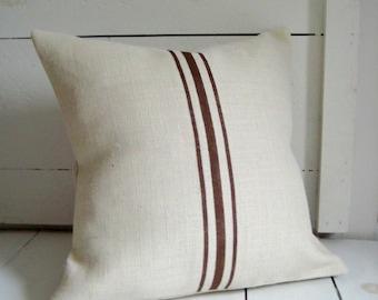Brown Grainsack Striped Pillow / Brown Burlap Pillow / Cottage Style Pillow / Beach Pillow / Rustic Decor / Farmhouse Pillow / Gift