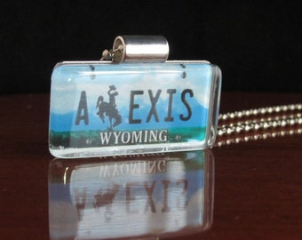 Personalized Wyoming License Plate Pendant Necklace by PL8LINKS
