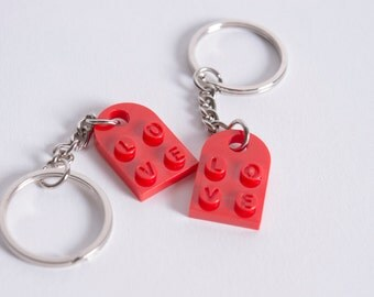 Personalized Heart LOVE Keychain Pair made from LEGO Bricks