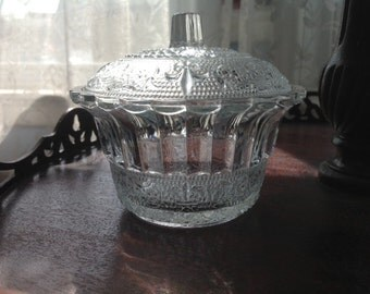 Ribbed Pressed Glass Bowl and Lid Dish King Indonesia
