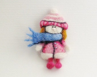 Girl Brooch, Pin, Magnet, Bookmark, Decoration MADE TO ORDER
