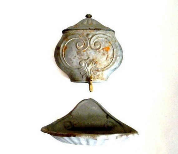 French Antique Wall Hanging Fountain Lavabo 1800s Shabby