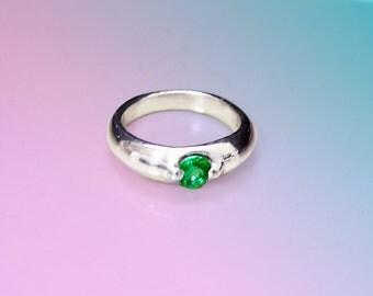 Natural emerald silver baby ring
