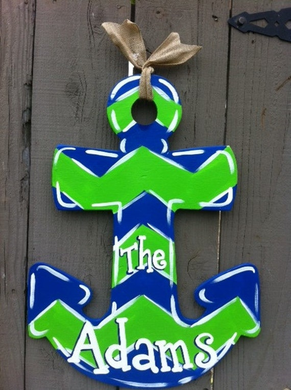 & Wooden Anchor Door Hanger Hand Painted Pezcame.Com
