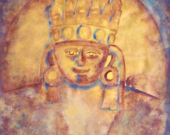 "Mayan king riginal painting of ancient Light holding Mayan God art  naive painting on paper 19"" x 25"" Fall colors home decor"