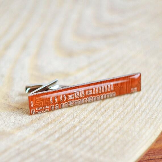 Geeky Tie clip - Computer tie bar - Orange circuit board - Recycled Computer